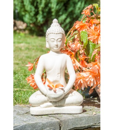 Statue Bouddha en céramique ivoire