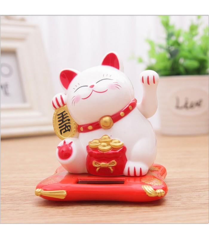 Vente chat chinois porte bonheur blanc solaire 7cm objets de d coration feng shui la - Porte bonheur chinois chat ...