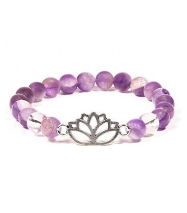 Bracelet Feng Shui Améthyste et Fleur de Lotus