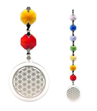 Suspension Feng Shui cristaux 7 chakras et Fleur de Vie