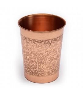 Gobelets en cuivre avec motif floral gravé