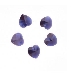 Lot de 5 petits cristaux cœur couleur indigo
