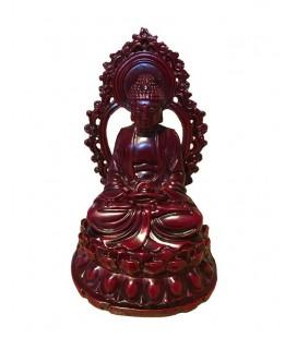 Bouddha assis en résine rouge foncé